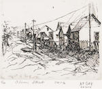 August Gay (American, 1890-1948) Fisherman's Wharf; Oliver Street, Monterey, California; Monterey shacks (group of three) first 4 1/2 x 5 1/4in; second and third 4 x 5in