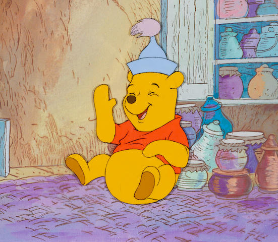 A Walt Disney Studios celluloid of Pooh from Winnie the Pooh and the Blustery Day