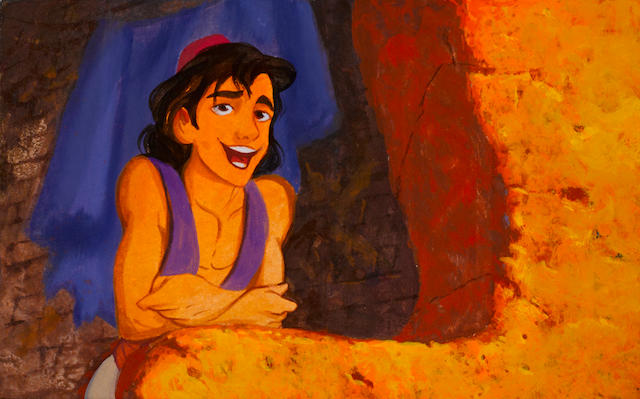 A COLOR KEY STORYBOARD PAINTING FROM DISNEY'S ALADDIN