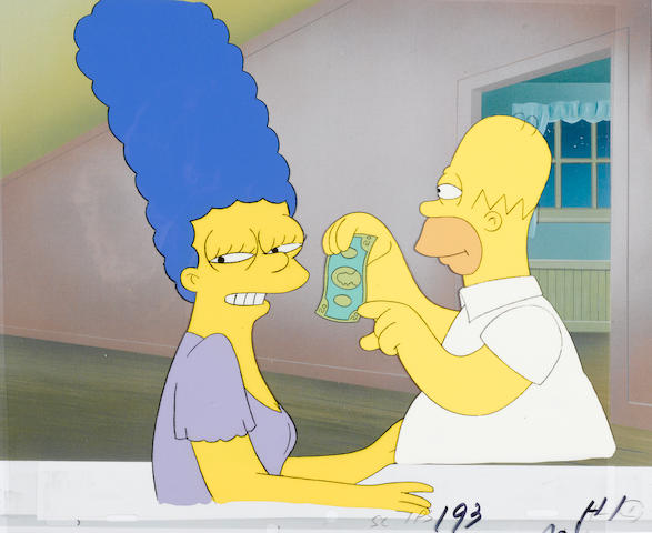 A celluloid of Homer and Marge from The Simpsons