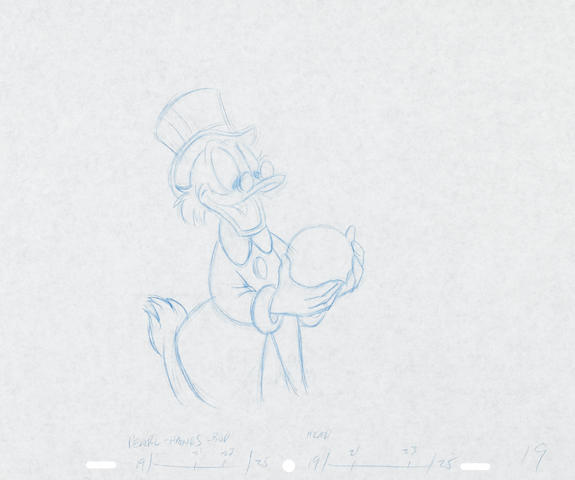 A COLLECTION OF SIX ANIMATION DRAWINGS- UNCLE SCROOGE FROM DUCK TALES.