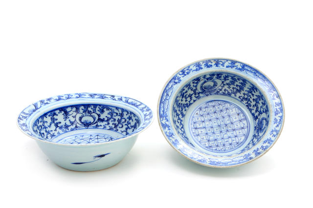 A pair of Chinese blue and white porcelain basins