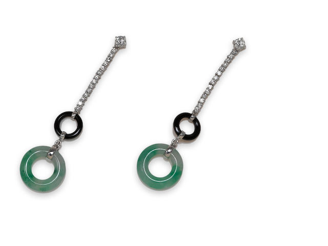 A pair of jadeite jade, black onyx and diamond earrings, Eli Frei