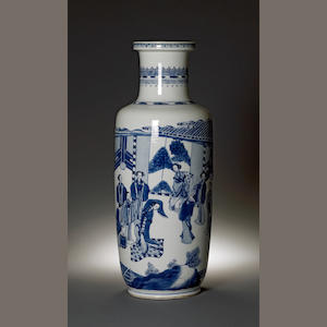 A Chinese blue and white porcelain rouleau vase with figural decoration  Kangxi period