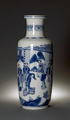 A blue and white porcelain rouleau vase Kangxi Period