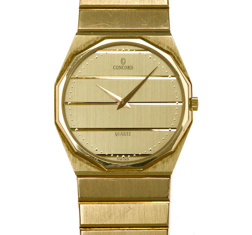 A fourteen karat gold bracelet wrist watch, Concord