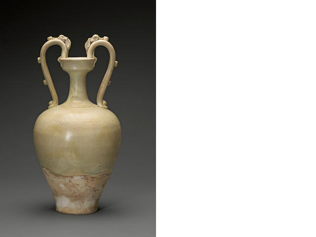 A straw glazed pottery amphora  Tang dynasty