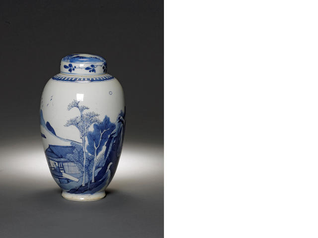 A blue and white ovoid jar and cover Kangxi period