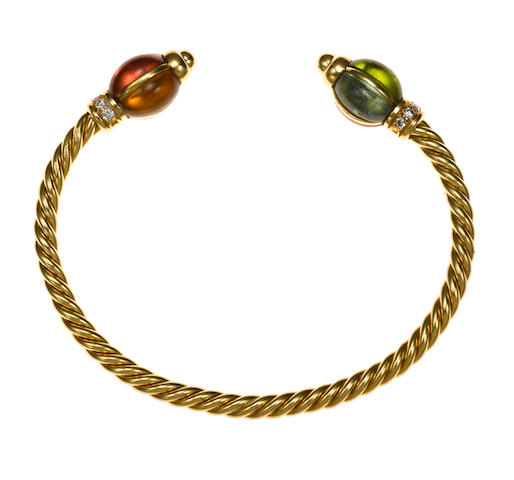 A gem-set and diamond bangle, Bulgari