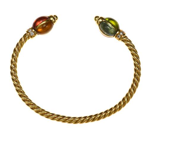 A gem-set and diamond bangle, Bulgari