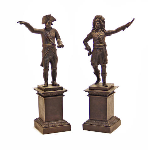 A pair of French patinated bronze military figures: Frederick the Great (1712 - 1786) & Louis XIV (1638 - 1715) mid 19th century