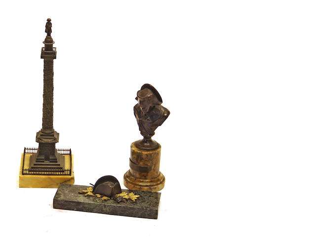 Three patinated bronze and marble Napoleonic souvenirs late 19th century