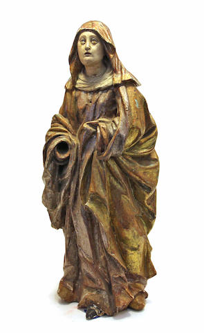 A Northern European carved and polychrome wood figure of the Mater Dolorosa 18th century