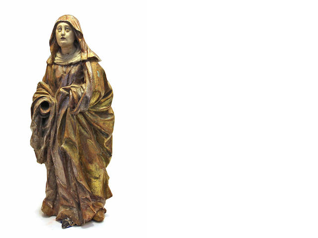 A Northern European carved and polychrome wood figure of the Mater Dolorosa 18th/19th century
