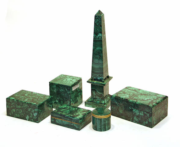 Five malachite table boxes and an obelisk late 20th century