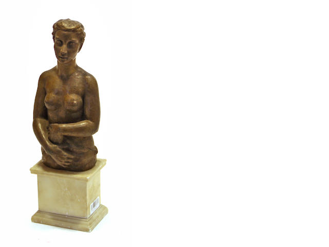 A patinated bronze female three quarter length nude  circa 1940