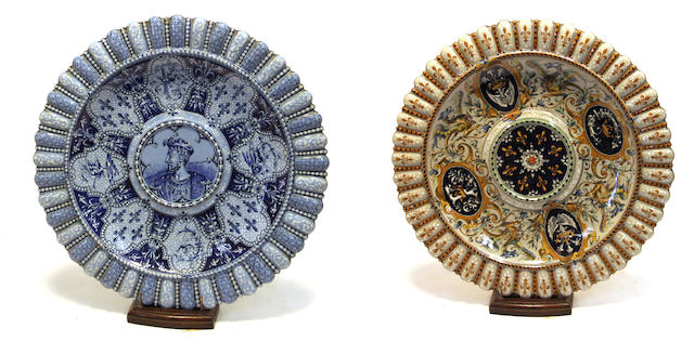 Two French faience chargers J. Tortat, Blois<BR />late 19th century