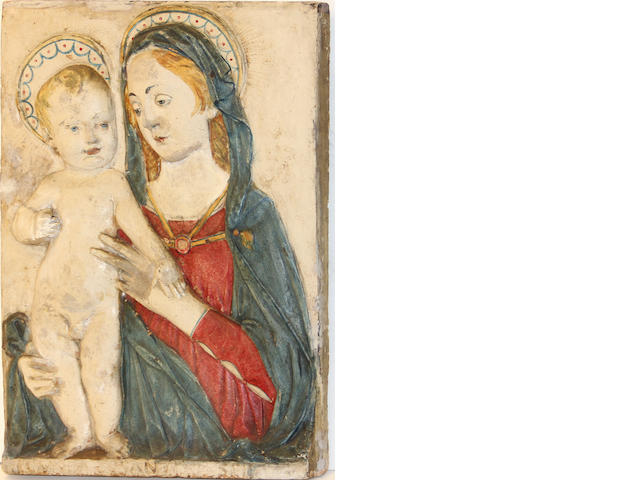 A polychrome decorated terracotta relief of the Virgin and Child  after a model by Domenico Rosselli (Italian, c. 1439–1498)<BR />19th century