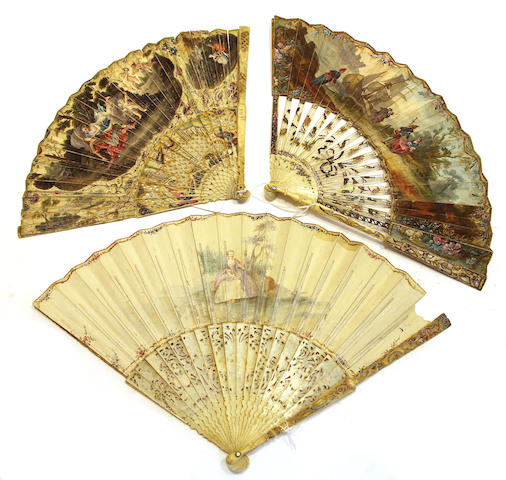Three Louis XV painted vellum fans with bone sticks and guards third quarter 18th century