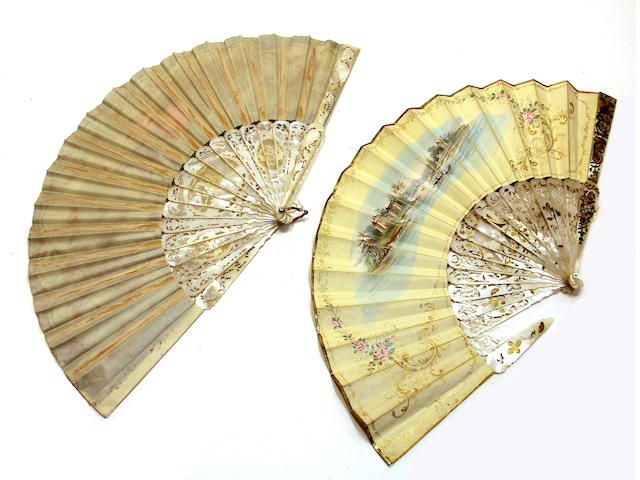 Two French painted silk or vellum fans with mother-of-pearl sticks and guards second half 19th century