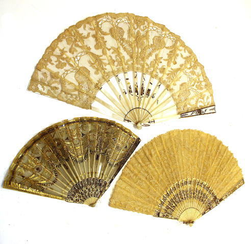 Three lace fans with mother-of-pearl or bone sticks and guards 19th century