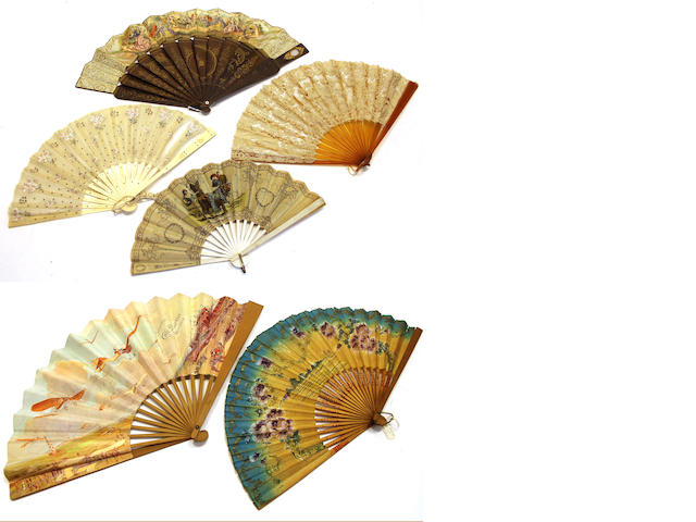 Six paper, lace or gauze fans with various sticks and guards second half 19th century/first quarter 20th century