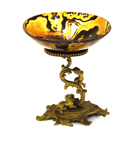 A Renaissance style gilt bronze and agate tazza  late 19th century