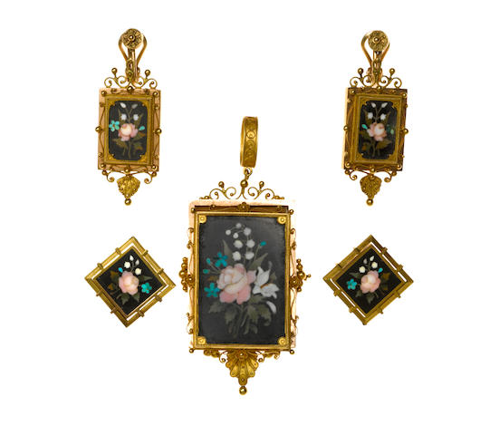 A pietra dura locket pendant/brooch together with two pairs of non-pierced earrings