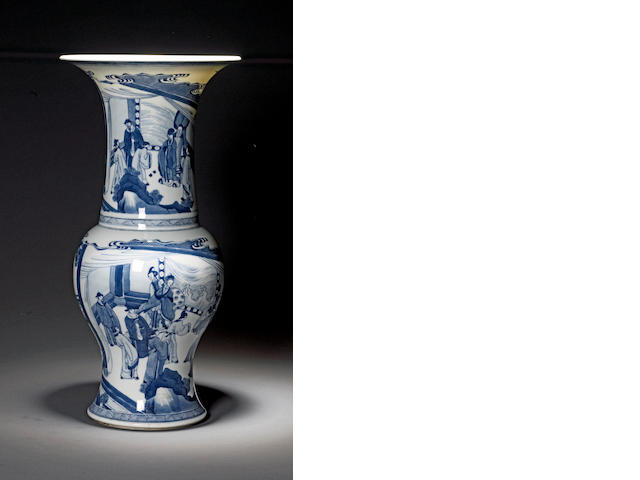 A Chinese blue and white porcelain rouleau vase Kangxi period