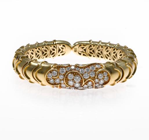 "A diamond ""Onda"" cuff bracelet, Marina B."