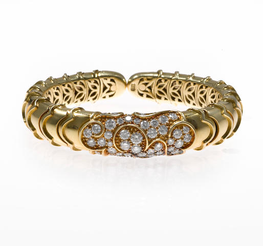 "A diamond ""Onda"" cuff bracelet, Marina B"