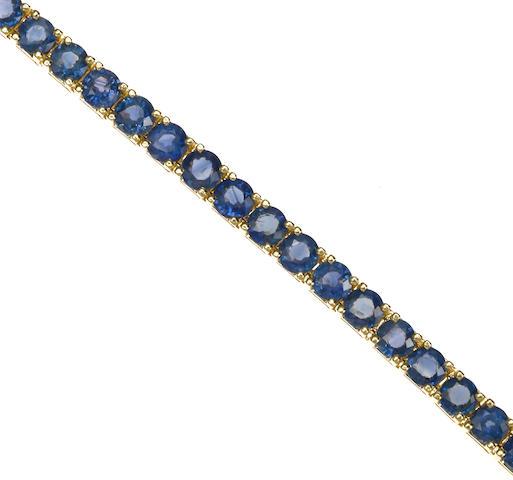 A sapphire gradiated line bracelet