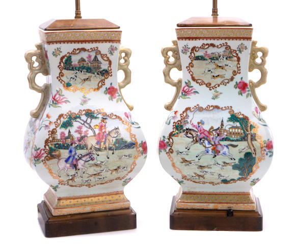 A pair of Chinese famille rose rectangular baluster vases