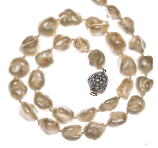 A keshi cultured pearl and diamond necklace, Tiffany & Co.