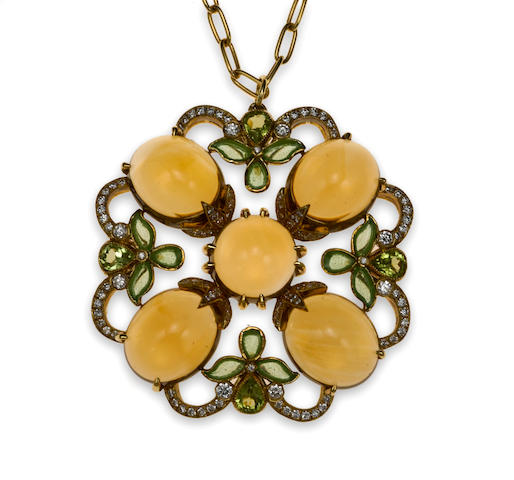 Plique a jour Medallion pendant with diamond, citrine and peridot set in 18k yellow gold