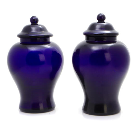 A pair of Chinese glass ginger jars