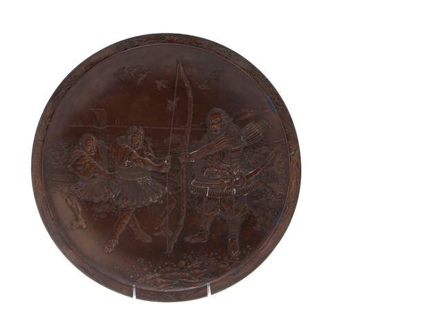 A bronze plate with Samurai and two figures