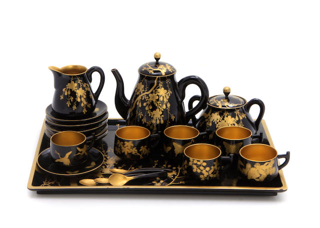 A Japanese gilt heightened lacquer tea set