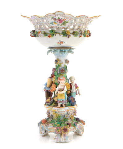 A Dresden porcelain compote