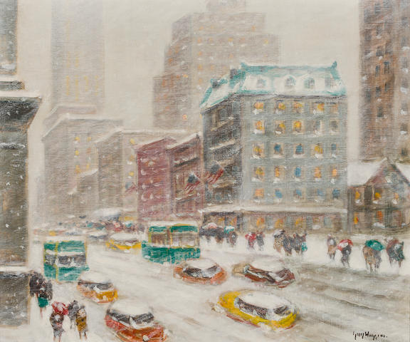 Guy Carleton Wiggins (American, 1883-1962) Looking Down Fifth Avenue 20 x 24in