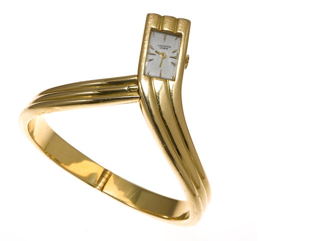 An eighteen karat gold bangle bracelet wristwatch, Universal Geneve