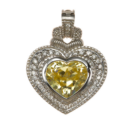 A synthetic yellow gem and diamond heart pendant/enhancer, Judith Ripka