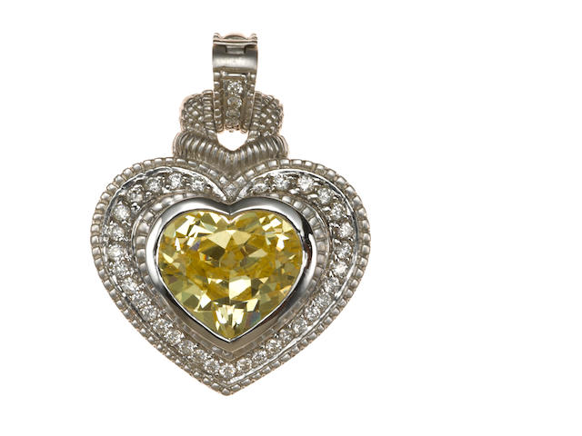 A yellow stone, diamond, and 18k white gold heart pendant-enhancer, Judith Ripka
