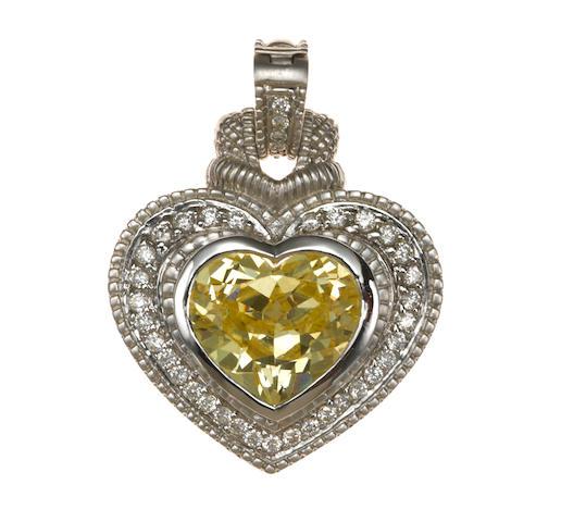 A yellow stone, diamond, and 18k white gold heart pendant-enhancer, Judith Ripka