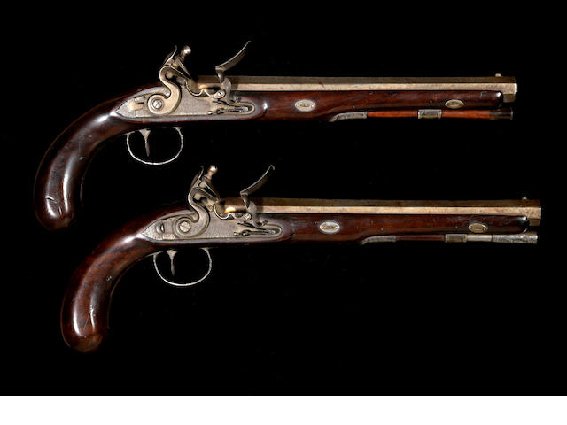 A pair of English flintlock duelling pistols by Wogdon & Barton