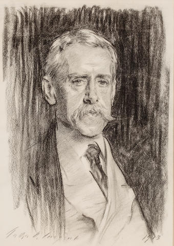 John Singer Sargent, RA (American, 1856-1925) Portrait of Joseph B. Warner 24 x 19in