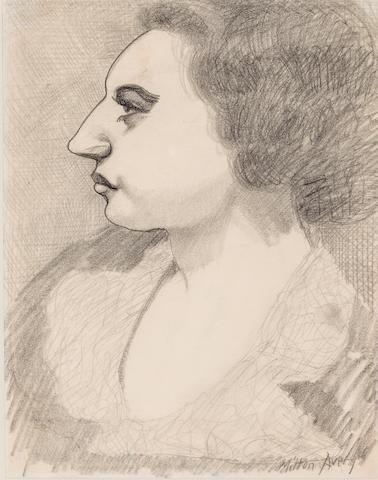 Milton Avery (American, 1893-1965) Pensive Profile, circa 1930s 11 x 8 1/2in
