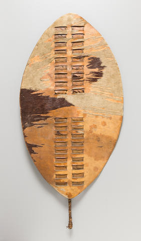 Historically Important Zulu Shield, South Africa, formerly belonging to Chief Mqhawe length 30 1/4in (76.8cm)