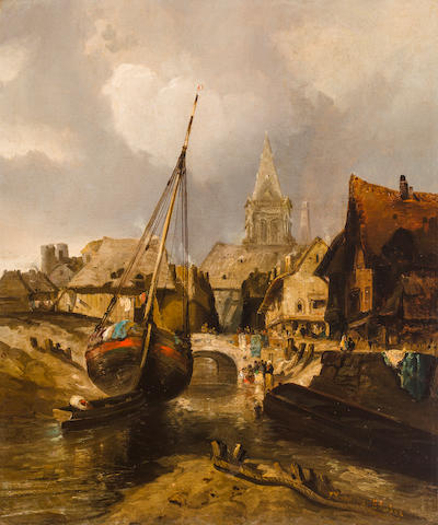 Thomas Moran (American, 1837-1926) Fishing Village 29 3/4 x 24 3/4in