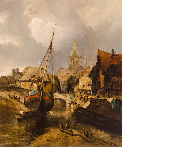 Thomas Moran (American, 1837-1926) Fishing Village - ALAN TO FLUSH OUT 29 3/4 x 24 3/4in